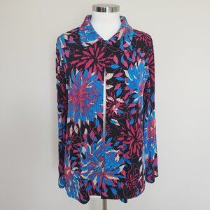 Chico's Travelers Size 1 Open Front Floral Top